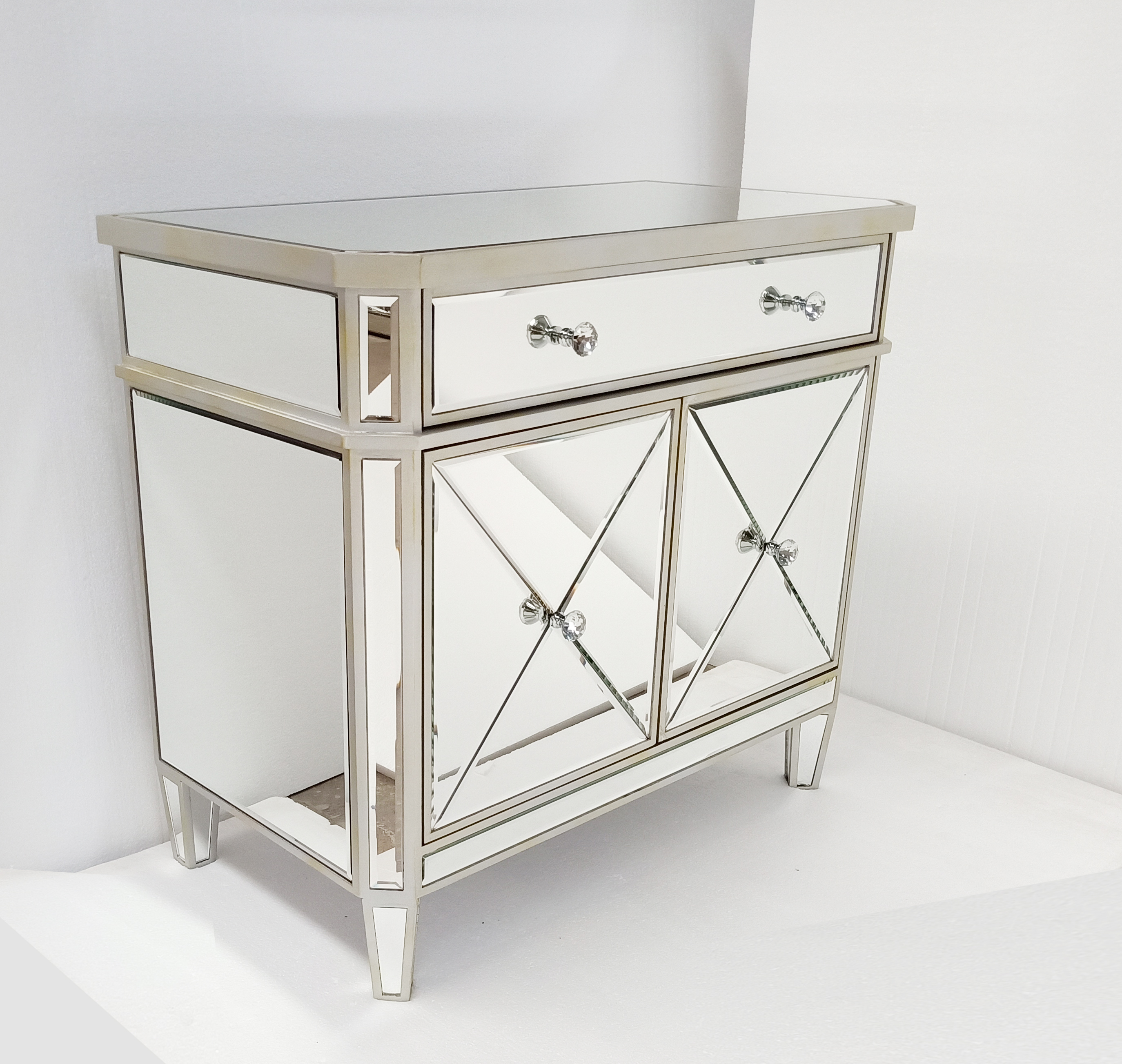 Gold And Silver Wooden Trimming Mirror Door Bedroom Side Table Bed Side Board Furniture Buy Bedroom Mirrored Side Table One Drawer Two Door Mirror Side Board Gold And Silver Trimming Color Side Table
