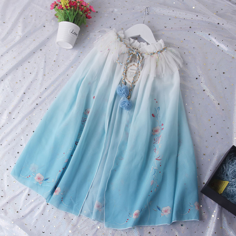 Fashion Glitter Sequin Design Girls Cloak Party Wear Rainbow Tulle Girls Cape With Pom Pom