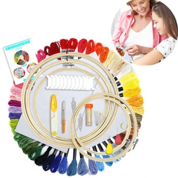 Adults Kids Beginners Embroidery Kit Cross Stitch Needle Craft Tool Bamboo Embroidery Hoops Frame+50 Colors Lines + Tools