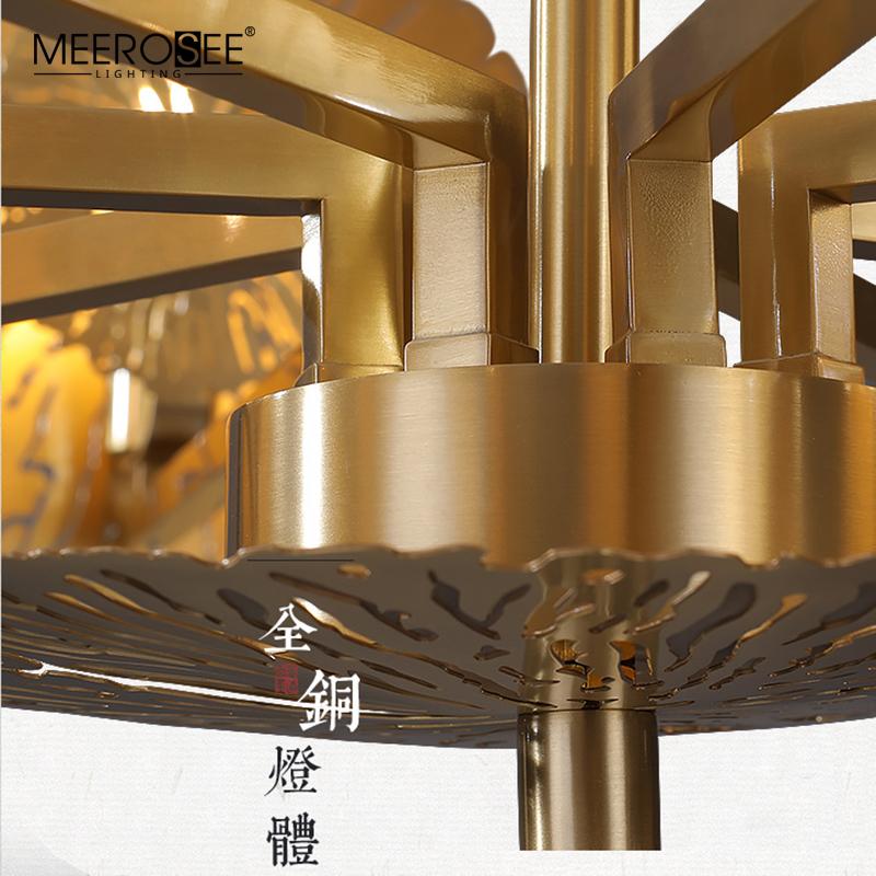 MEEROSEE Luxury Gold Copper Pendant Light Modern Lotus Pendant Chandelier Lamp for Villa MD86736