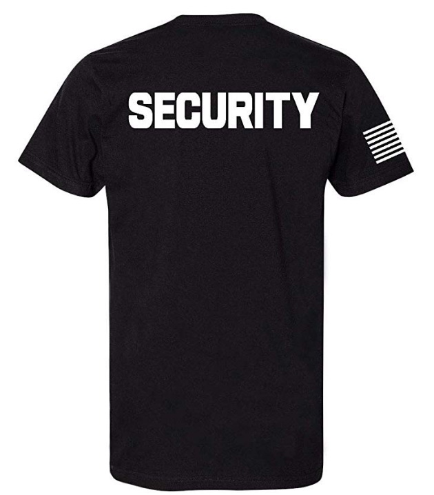 Customized Security T-Shirt Front Back Print Mens Tee Staff Event Uniform Bouncer Screen Printed