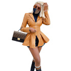 Slim fit woman fashion lapel zipper PU leather commuter coat fold coats for ladies womens jackets jacket leather