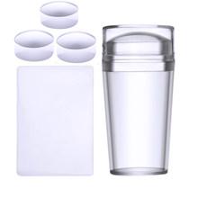 Biutee чистые прозрачные силиконовые штампы набор головок дизайн ногтей шаблон ногтей штамп и скребок 2,8 см штамп с крышкой прозрачный(Китай)