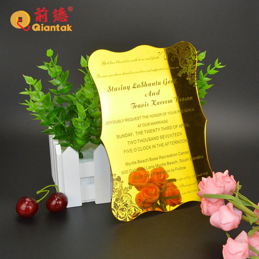 Высококачественный персонализированный памятный сувенир Золотая лазерная резка акриловая Свадебная пригласительная открытка