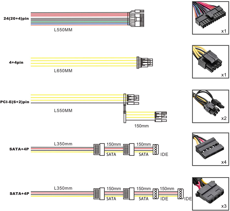 Mackertop ATX Power Supply GD550 Full Modular PSU 80 Plus Bronze PSU 550w PC Power Supply with up to 85% Conversion Rate,