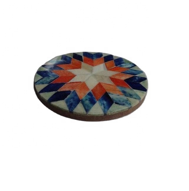 Round bone mosaic flower pattern coaster available in other patterns and colours