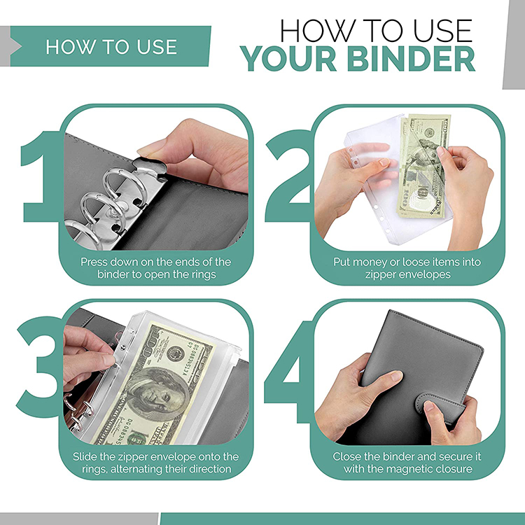 A4 A5 A6 A7 File Budget Binder Clear Pocket 6Ring Zipper PVC Plastic Filling Pocket Folders