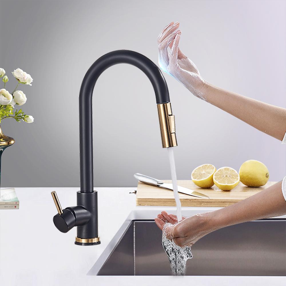 Black Gold Sensor Kitchen Faucets Sensitive Smart Touch Control Faucet Mixer Tap Touch Sensor Smart Kitchen Taps Buy Gold Kitchen Faucet Kitchen Faucet Faucet Kitchen Mixer Water Pull Out Faucet Product On Alibaba Com