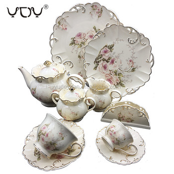 Embossed Gold Coffee Floral Custom Pot Porcelain Royal Bone China New Modern Flower European Style 24PCS Personalized Tea Set