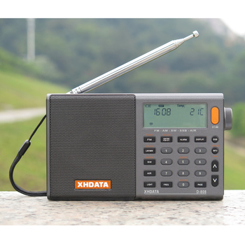 XHDATA Gray Portable High sensitivity and Deep Sound FM Stereo/SW/MW/LW SSB AIR RSD Multi Band D-808 with LCD display, Alarm