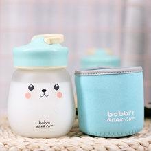 Новая Милая стеклянная бутылка для воды с чайным фильтром Kawaii кружка с медведем портативная герметичная Студенческая пара прозрачная мато...(Китай)
