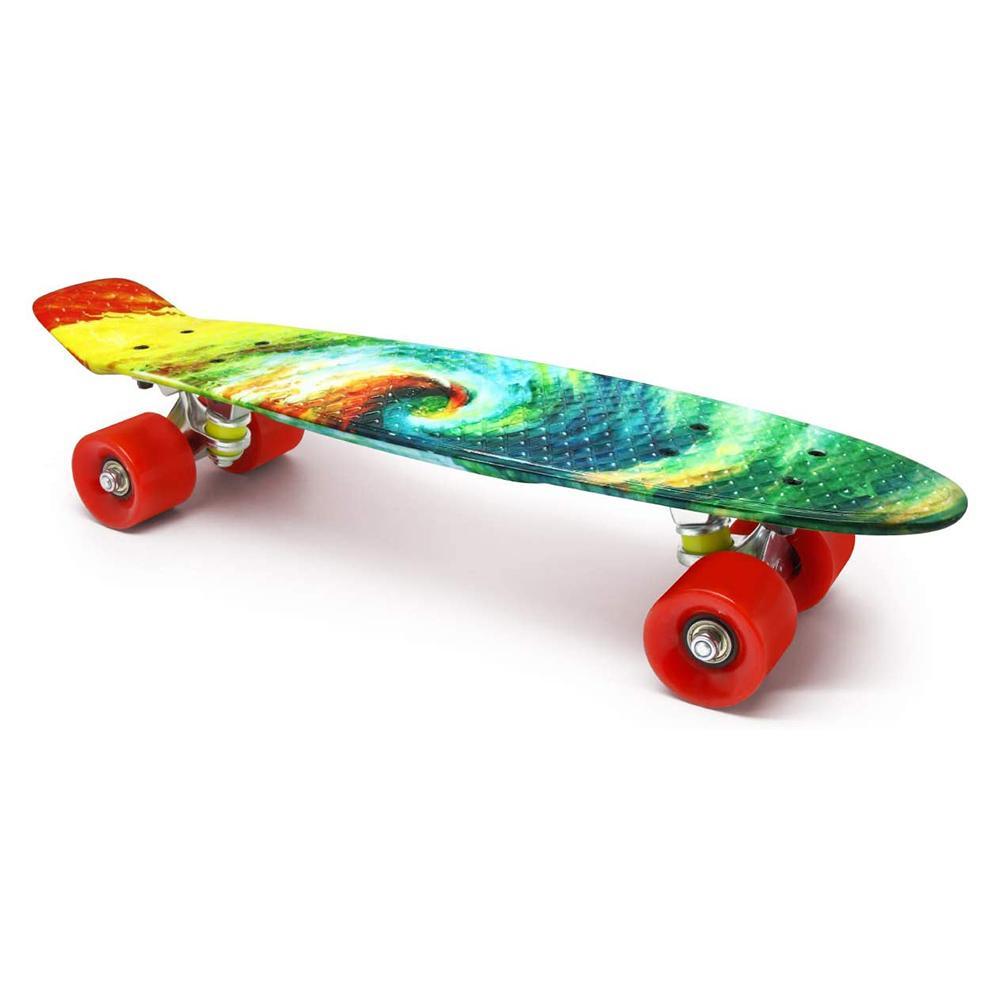 Boys Girls Teens Beginners Teckey Mini Cruiser Skateboard for Kids Complete 22 Inch Mini Cruiser Retro Plastic Skateboards with Light Up Wheels