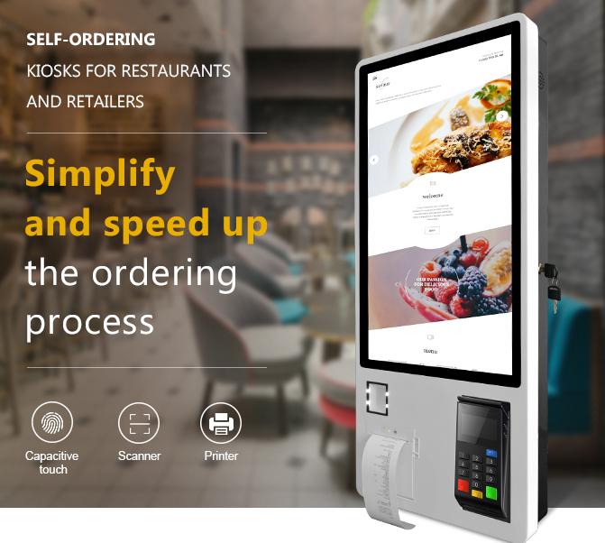 Самостоятельный заказ сенсорный экран отдельно стоящая оплата интерактивный самостоятельный сервис заказ киоска