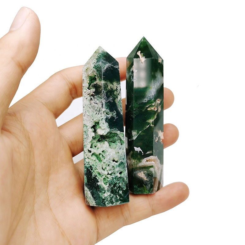 Wholesale Natural Healing Gemstone Point Green Moss Agate Tower Obelisk For Decoration