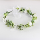 Floral Artificial Floral Crown Green Flower Crown Floral Bridal Headpiece For Photo Prop