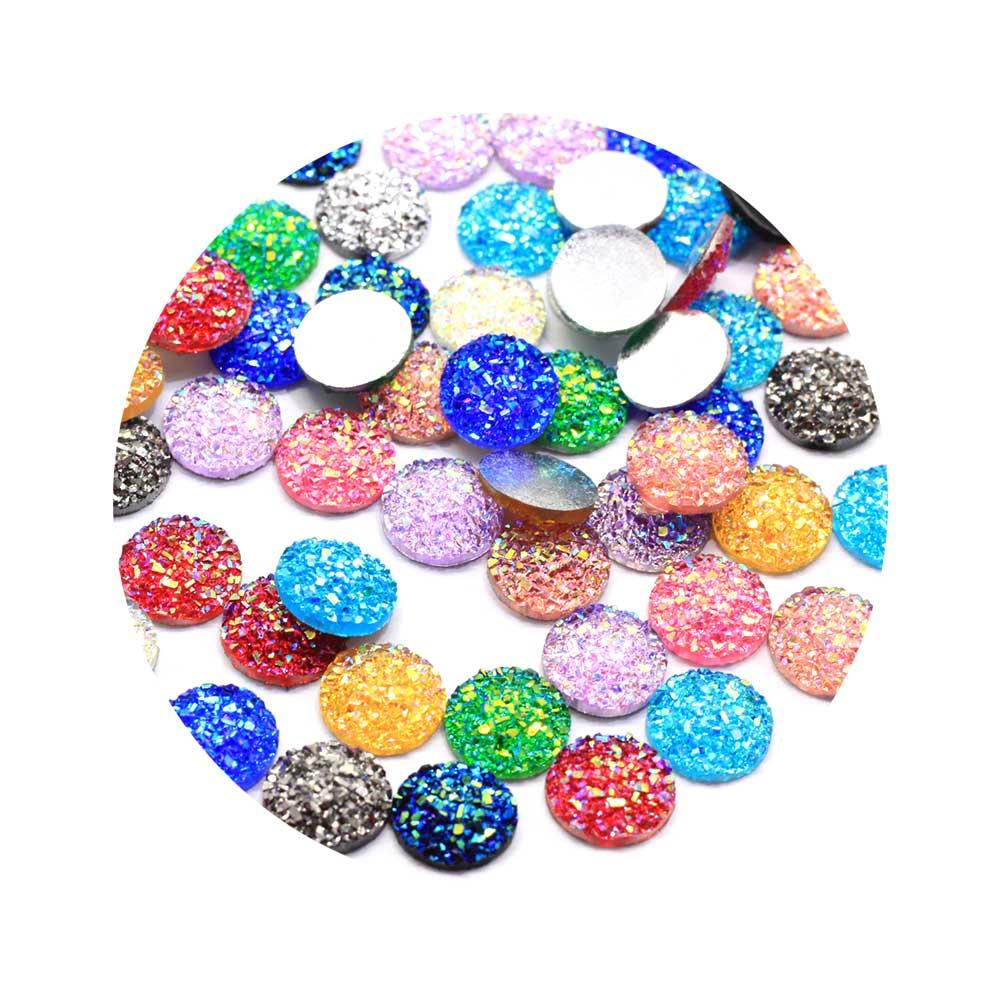 12 мм каучуковые плоские круглые кабошоны с отделкой AB, очаровательные Драгоценности с плоской задней стороной, цветные каучуковые Кабошоны, поставщик для изготовления ювелирных изделий