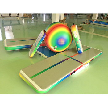 Home Edition Rainbow 3 meter Airtrack factory tumbling inflatable gymnastics set air tumble track
