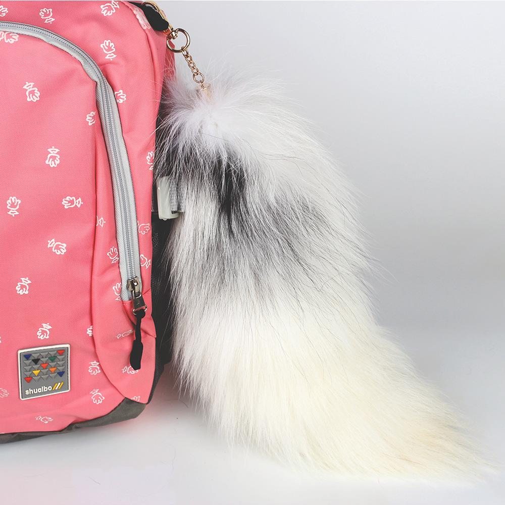 Wholesale Fashion genuine fur accessories Keychain fox tail pendant fur plush pendant fur Keychain Plush Pendant
