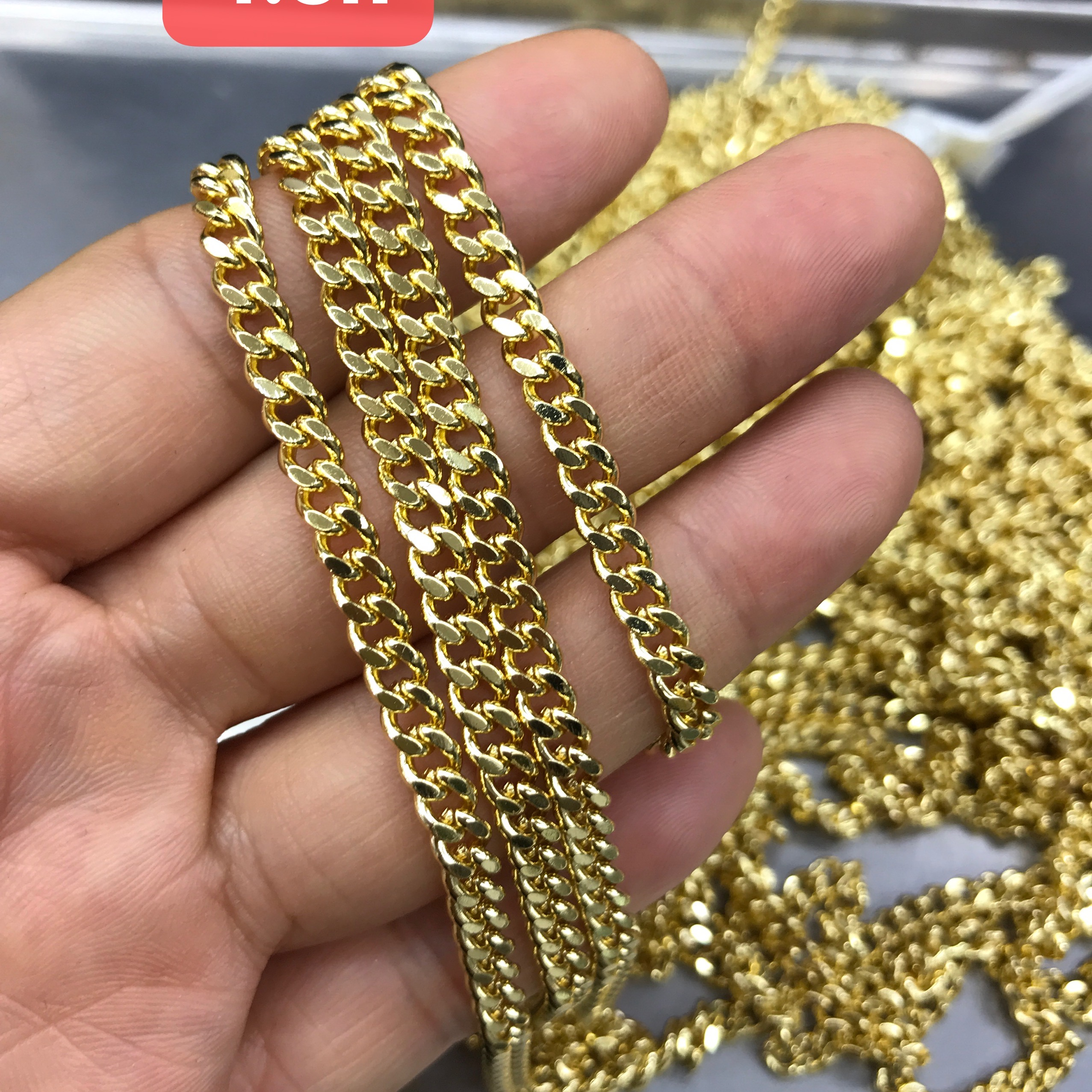 Wholesale High quality fashion copper 24k gold plated brass Cuban chain for jewelry making 4.5mm,5mm,6mm,7mm