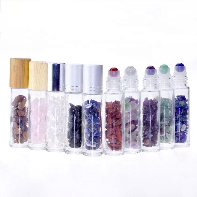 Косметическая упаковка, 10 мл, прозрачные драгоценные камни, стеклянная бутылка-ролик для эфирного масла с бамбуковой крышкой