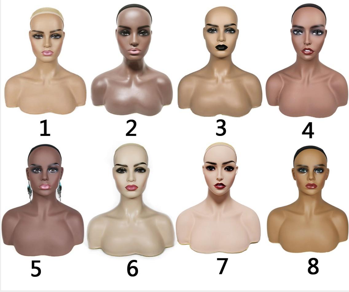 Реалистичный женский манекен Dark Skin с большой грудью из африканского ПВХ, голова с плечами для париков, манекены для демонстрации, минимальный заказ, 1 шт.