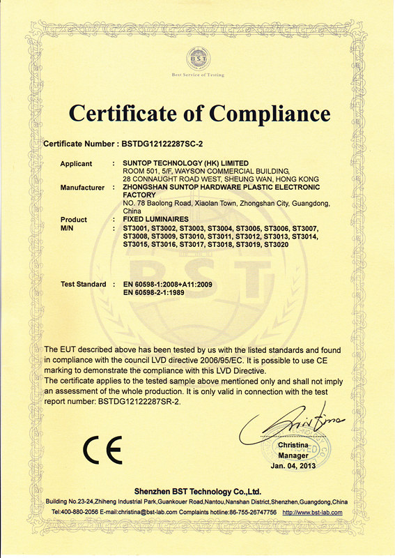 CE certificate of FIXED LUMINAIRES