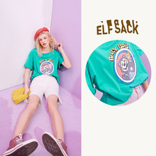 Женская футболка ELFSACK, Повседневная футболка большого размера с забавным графическим принтом в стиле Харадзюку, лето 2020(China)