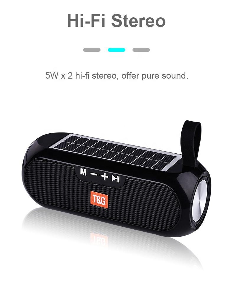 Solar Charging Blue Speaker Portable Wireless Column 3D Stereo Music Center Solar Power Bank for the Computer