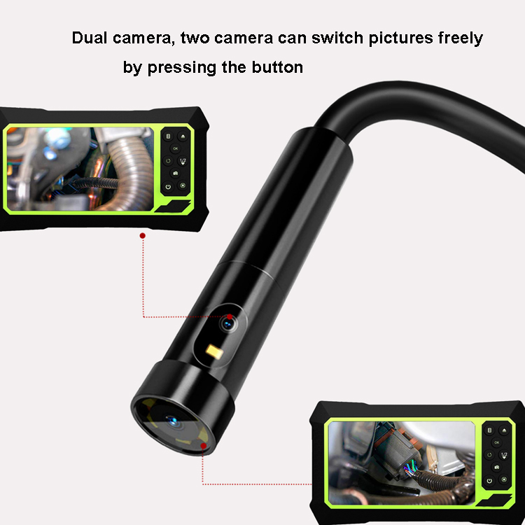 IP67 Waterproof 5M 4.3 inch LCD 8mm endoscope borescope 8 LED  inspection endoscope with dual camera