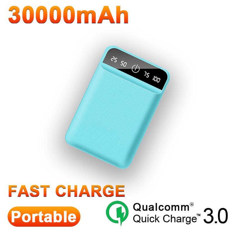 30000 мАч Мини ЖК-дисплей цифровой дисплей банк питания для Smartpone Pover Банк зарядное устройство Портативный двойной Usb порты внешний аккумулято...(Китай)