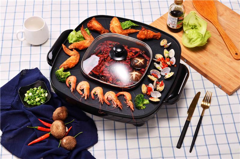 Китайский производитель, квадратный Электрический гриль для барбекю с горячим горшком без масляного коллектора