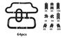 Black-64pcs/set