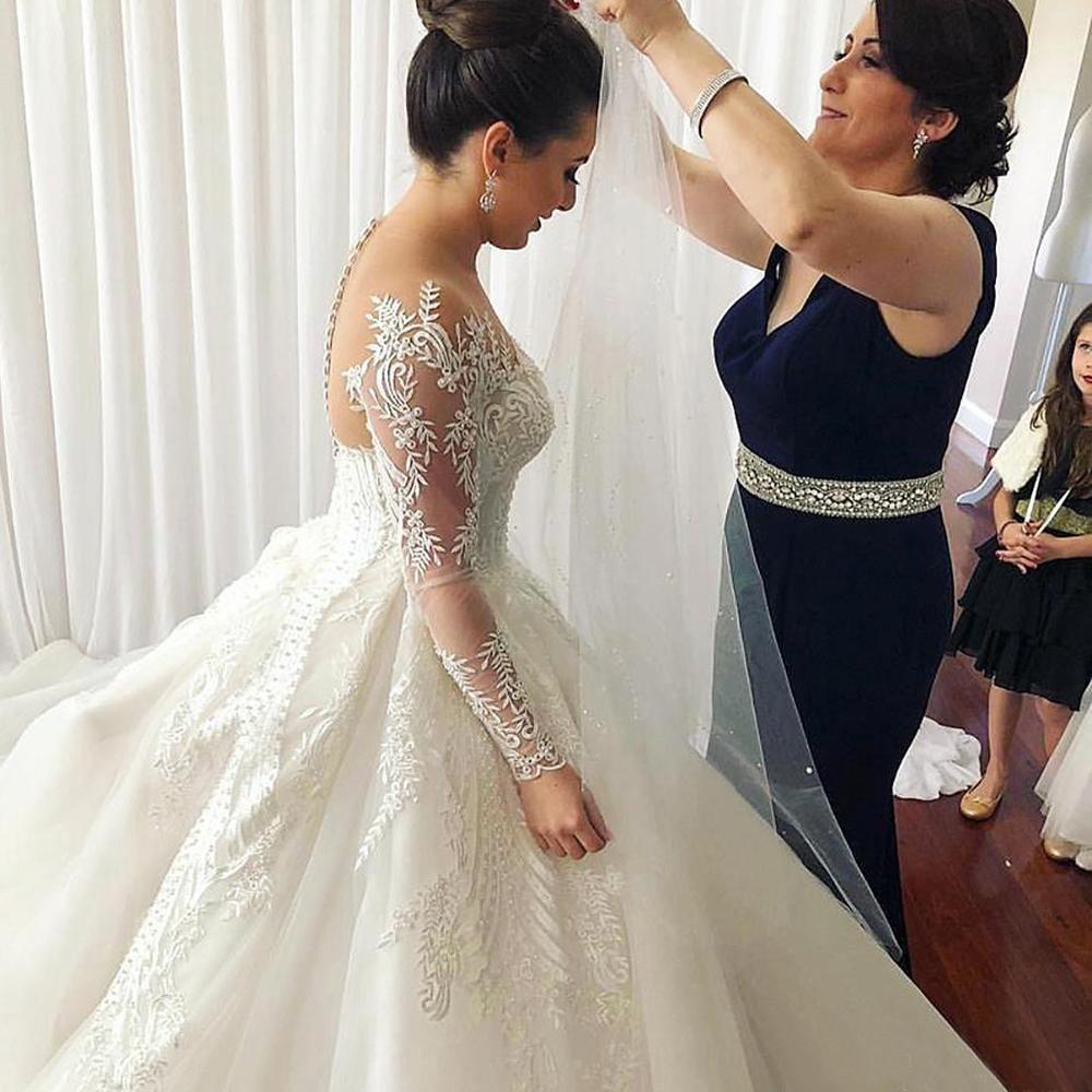 Белое свадебное платье, модель 2020 года, бальные платья большого размера с длинным рукавом на заказ