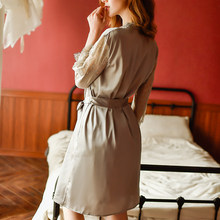 Летняя и осенняя Сексуальная кружевная Пижама на бретельках для женщин, ночная рубашка, Модный женский пижамный комплект, бархатный халат, ...(Китай)