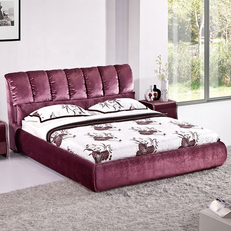 Hotel bedroom furniture upholstery linen fabric cheap king size bed frame purple fabric bed