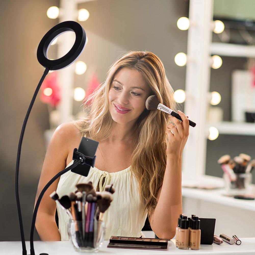Бесплатная доставка в США живой заполняющий свет настольная светодиодная кольцевая лампа с держателем для телефона Селфи