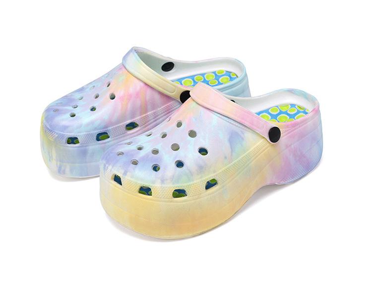 Amazon USA fashion platform tie dye EVA clog lady woman girl garden shoe beach sandal slipper manufacturer China clog custom