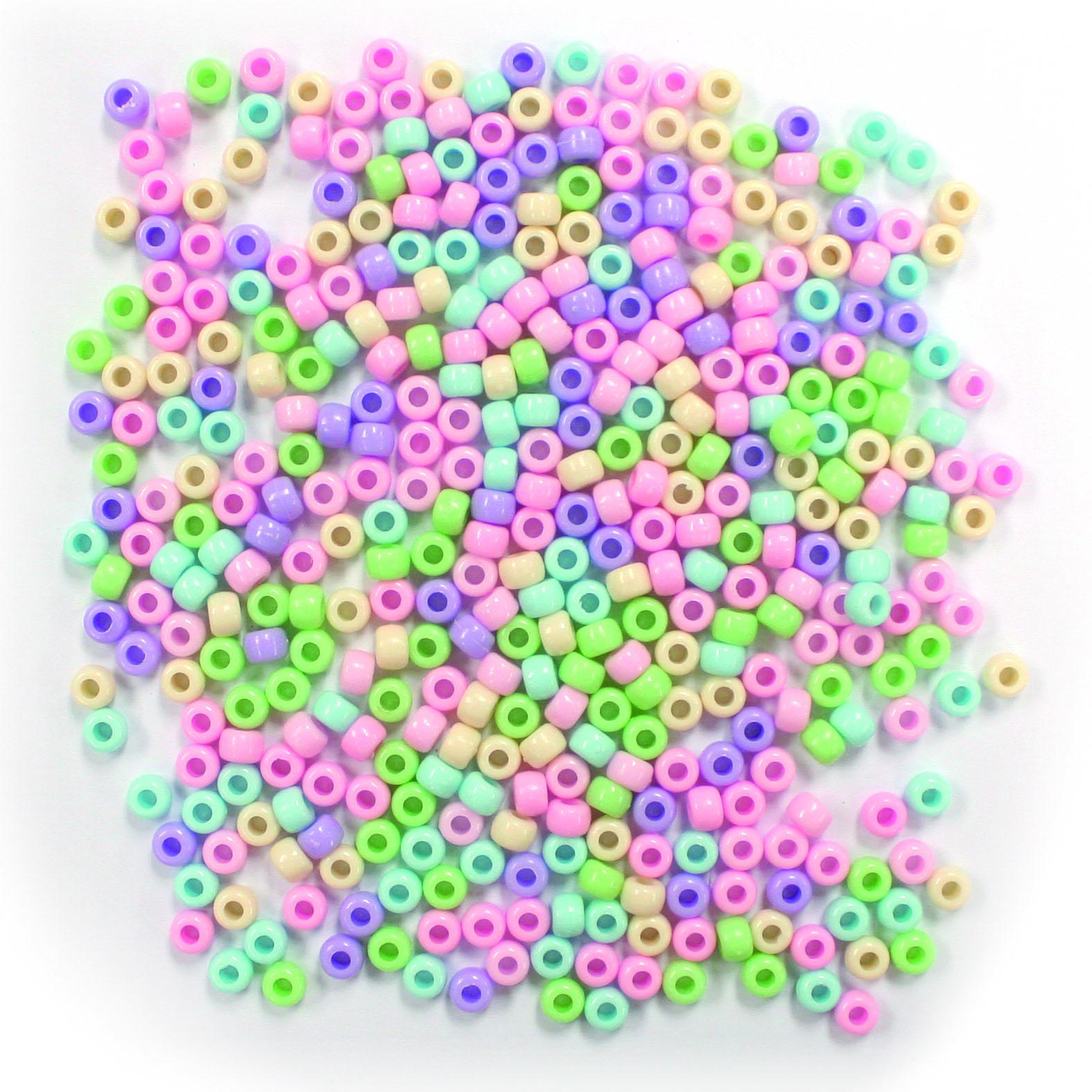 Yiwu huaxuan Оптовая поставка цветных пластиковых бусин пони 6 мм * 9 мм в наличии