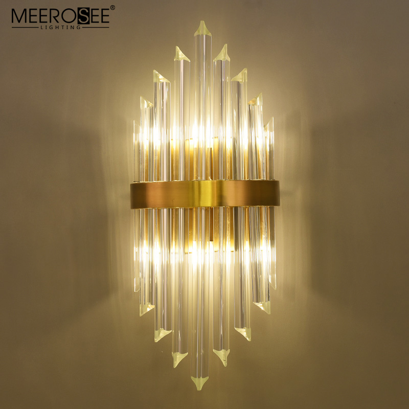 MEEROSEE New products golden finishing crystal wall lamp Bronze Wall Sconces for hotel villa home MD86727