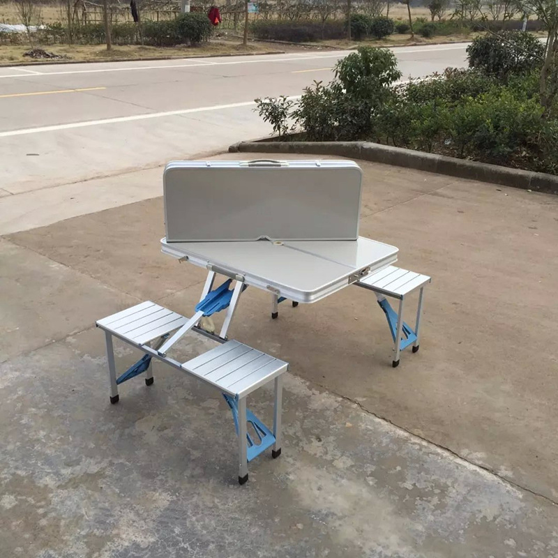 Original factory  environmentally friendly aluminum 4 chairs outdoor folding table