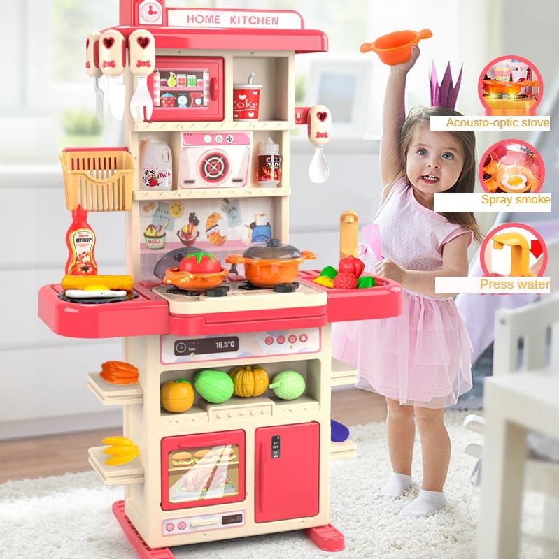 Большой симулятор обеденный стол набор кухонной утвари для приготовления пищи образования детей игровой дом кухонные игрушки
