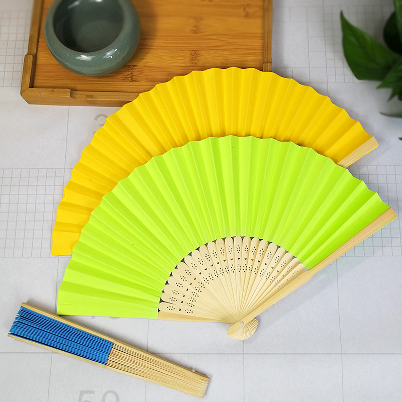 Mixed color  paper hand fan Bamboo Folding Handheld Fans  for Wedding Gifts Party Favors DIY