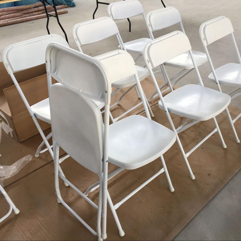 Оптовая продажа, белый пластиковый складной стул для праздников, банкетов, полимерный складной стул