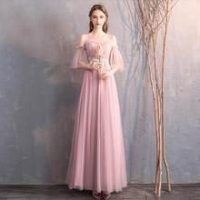 Розовое милое платье подружки невесты для женщин, свадебные праздничные платья, нежно-розовое платье, длинные платья подружки невесты, деше...(Китай)