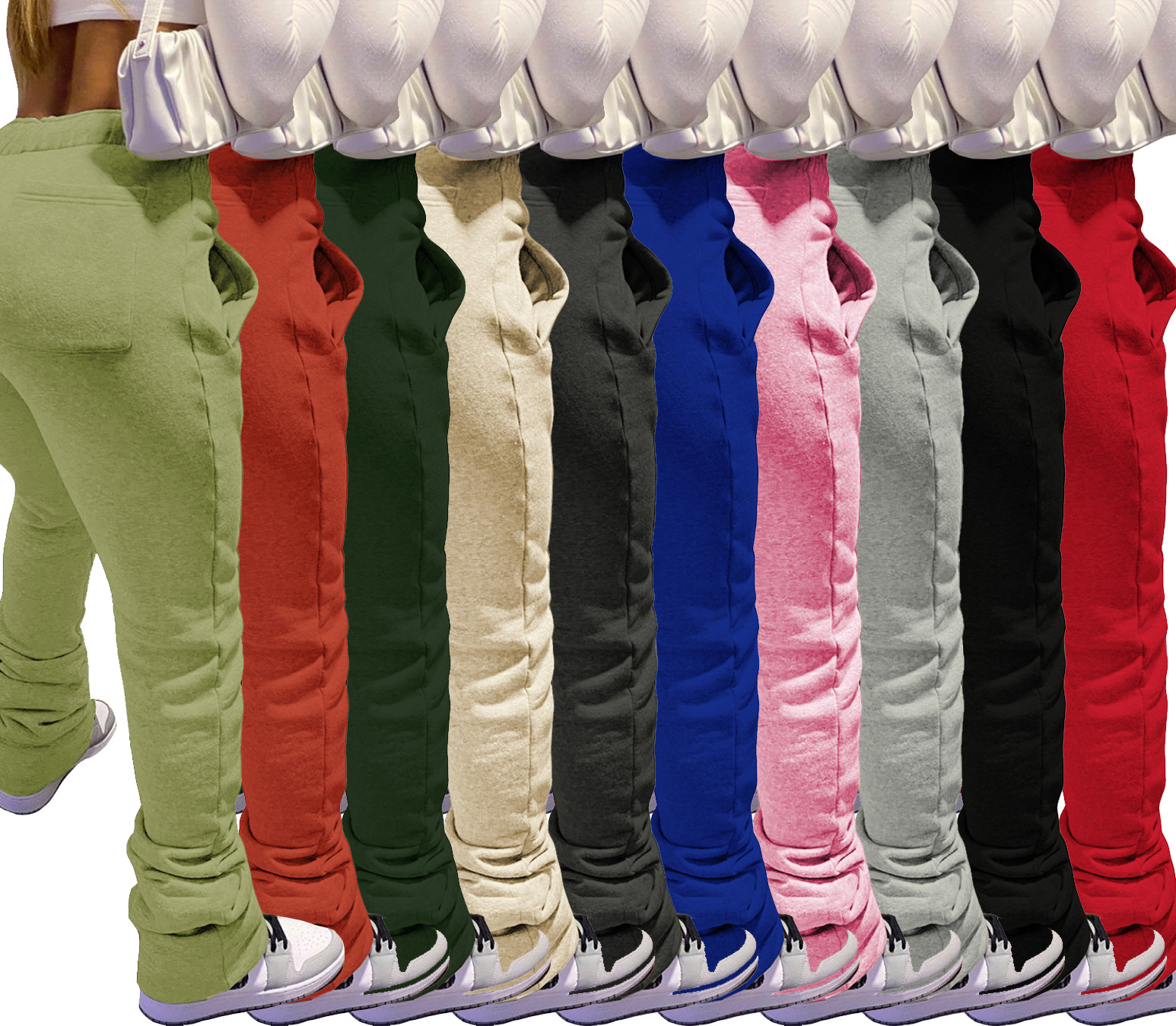 Top quality fall and winter fashion joggers pocket stacked flared pants drawstring thick fleece stacked sweatpants for women
