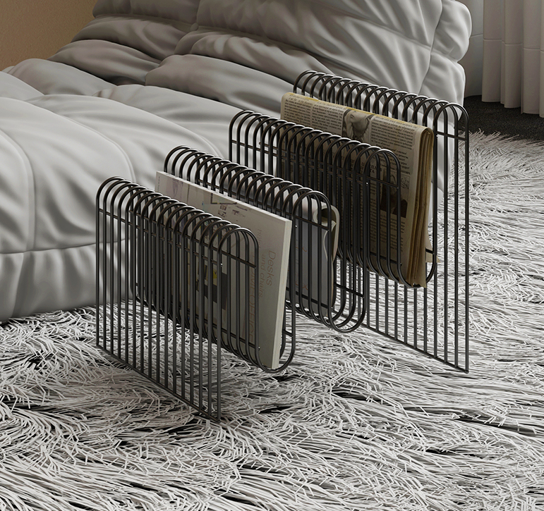 Metal popular gold silver color luxury steel wire Magazine rack