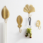Wall Hanger Door Light Luxury Gold Decorative Durable Wall Hanging Creative Metal Leaves Porch Key Hook Clothes Hanger At The Door Bedroom Wall