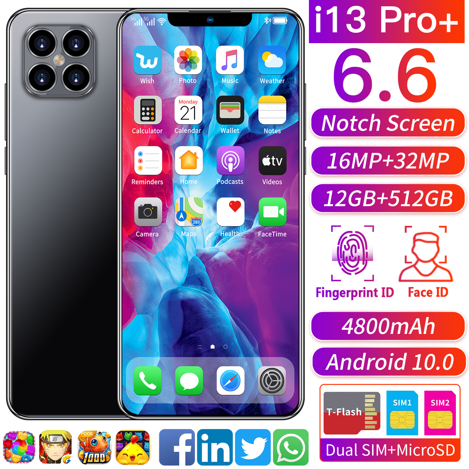 Cheap Price Mobile Phones i13 Pro 6.6inch FHD Big Screen Smart Phone 12+512GB Large Memory Android Smart Face unlock phone