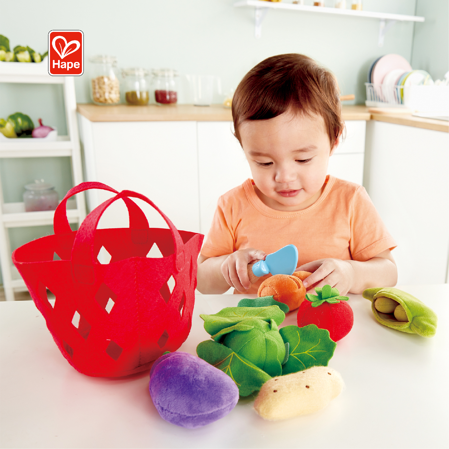 Hape Brand Craft Kitchen Toys Fun Cutting Toddler Vegetable Basket Set for Children Educational Early Age Basic