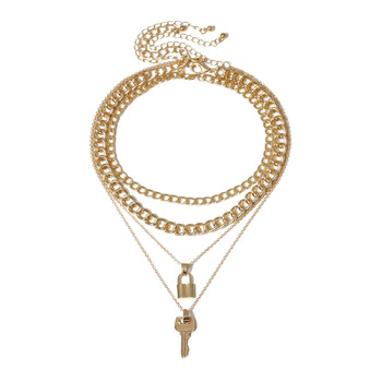 danyuan gold chain lock and key necklace initial lock necklace mini key four layers necklace